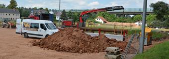 20.06.2018 –Rohrvortrieb für die Entwässerung in die Pleiße